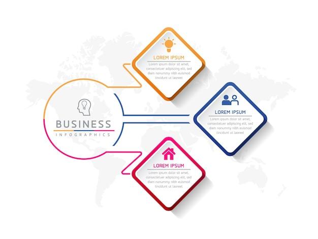 Ilustracja wektorowa infografika szablon prezentacji 3 opcje lub kroki