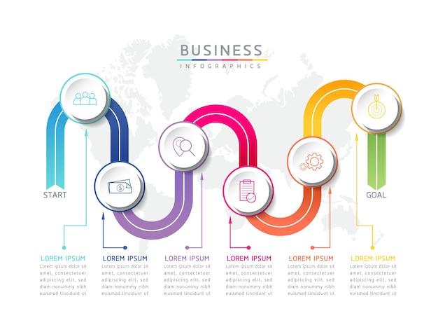 Ilustracja wektorowa infografika szablon prezentacji 6 opcji lub kroków