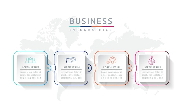Ilustracja wektorowa infografika szablon projektu prezentacja 4 opcje lub kroki