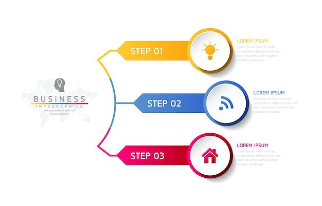 Ilustracja wektorowa infografiki szablon projektu informacji biznesowych wykres prezentacji 3 kroki