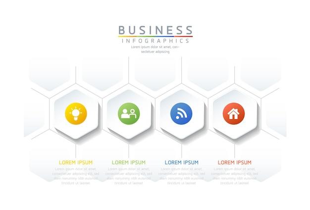 Ilustracja wektorowa infografiki szablon projektu informacji biznesowych wykres prezentacji 4 kroki