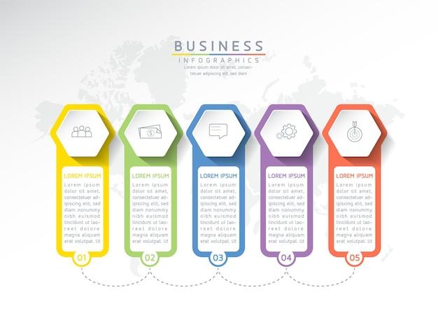 Ilustracja wektorowa infografiki szablon projektu informacji biznesowych wykres prezentacji 5 kroków