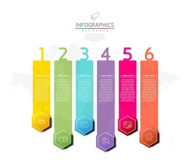 Ilustracja wektorowa infografiki szablon projektu informacji biznesowych wykres prezentacji 6 kroków