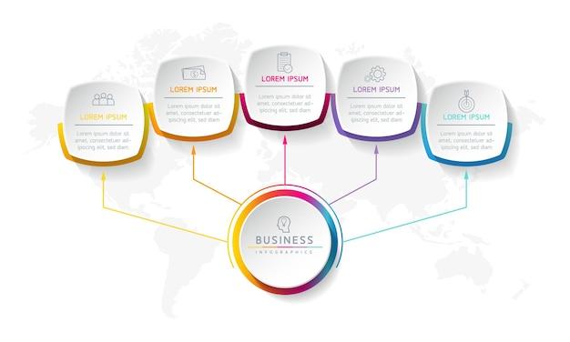 Ilustracja wektorowa infografiki szablon projektu informacji biznesowych wykres prezentacji z 5 opcjami lub krokami