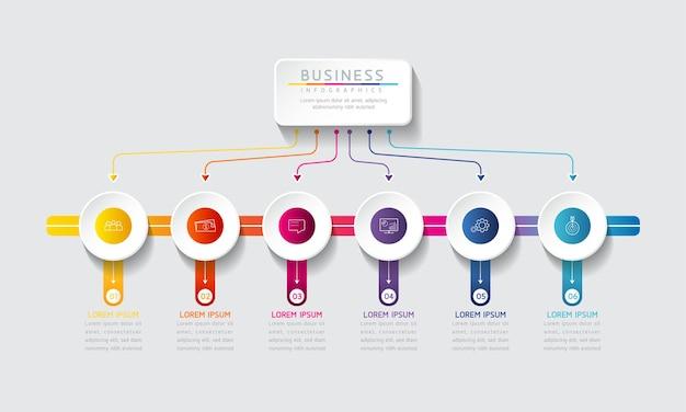 Ilustracja wektorowa infografiki szablon projektu informacji biznesowych wykres prezentacji z 6 opcjami lub krokami