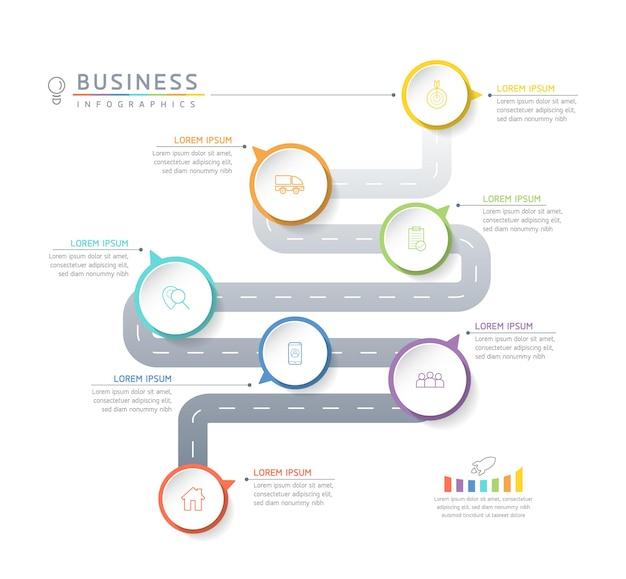 Ilustracja wektorowa infografiki szablon projektu informacji biznesowych wykres prezentacji z 7 opcjami lub krokami