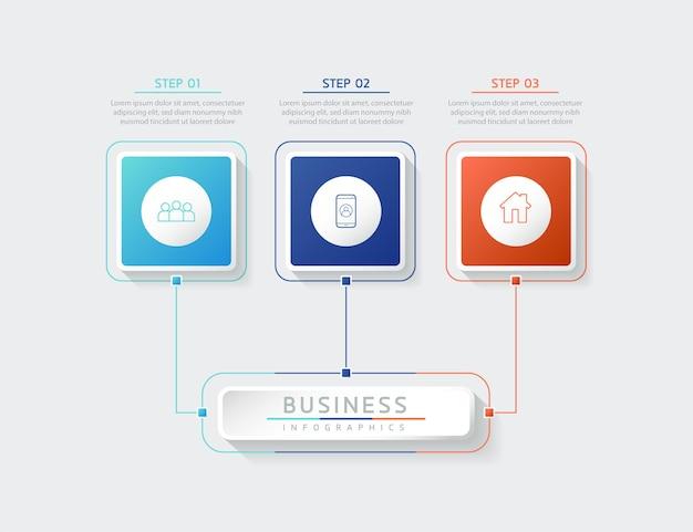 Ilustracja wektorowa infografiki zaprojektuj szablon informacji marketingowych z 3 opcjami lub krokami