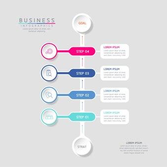 Ilustracja Wektorowa Infografiki Zaprojektuj Szablon Informacji Marketingowych Z 4 Opcjami Lub Krokami Premium Wektorów