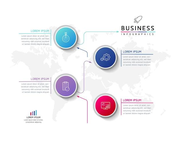Ilustracja wektorowa infografiki zaprojektuj szablon informacji marketingowych z 4 opcjami lub krokami