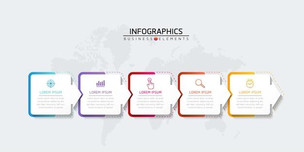 Ilustracja wektorowa infografiki zaprojektuj szablon informacji marketingowych z 5 opcjami lub krokami