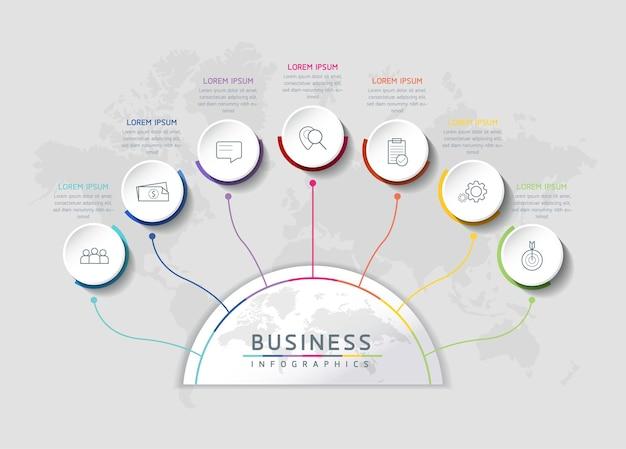 Ilustracja Wektorowa Infografiki Zaprojektuj Szablon Informacji Marketingowych Z 7 Opcjami Lub Krokami Premium Wektorów