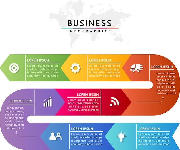 Ilustracja wektorowa infografiki zaprojektuj szablon informacji marketingowych z 7 opcjami lub krokami