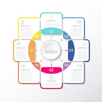 Ilustracja wektorowa infografiki zaprojektuj szablon informacji marketingowych z 8 opcjami lub krokami