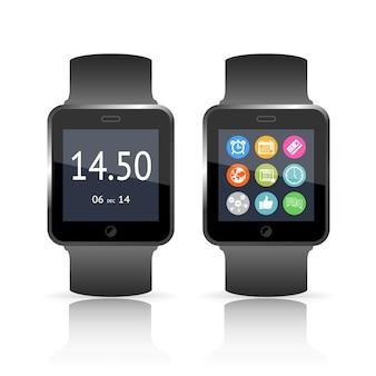 Ilustracja wektorowa inteligentnego zegarka z dwiema wersjami przedstawiającymi godzinę na tarczy, a drugą zestaw kolorowych ikon funkcji i aplikacji