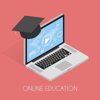 Ilustracja wektorowa izometrycznej koncepcji edukacji online i samouczka