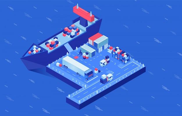 Ilustracja wektorowa izometryczny dostawy przesyłki. załadunek statków przemysłowych w porcie morskim, centrum logistyczne statków towarowych. usługi transportowe, import i eksport, transport morski
