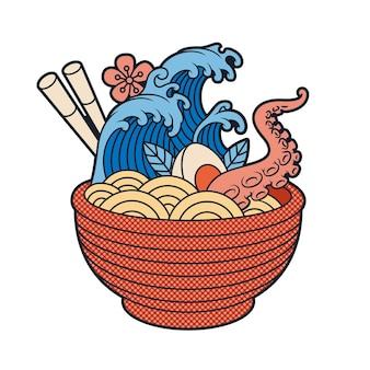 Ilustracja wektorowa japońska zupa ramen w stylu cartoon