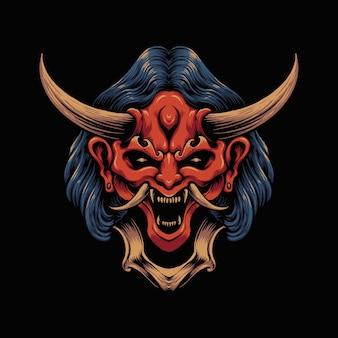 Ilustracja wektorowa japońskiej maski diabła