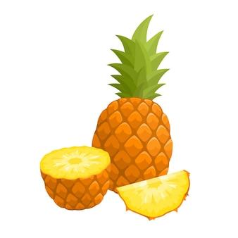Ilustracja wektorowa jasne kolorowe pół, plasterek i cały ananas. egzotyczne owoce świeże kreskówka na białym tle.