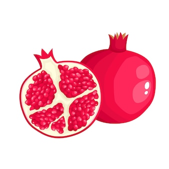 Ilustracja wektorowa jasne kolorowe pół, plasterek i cały sok z granatu. owoce świeże kreskówka na białym tle.