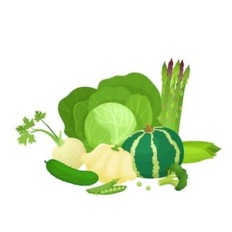 Ilustracja wektorowa jasne kolorowe zielone warzywa, zdrowa żywność