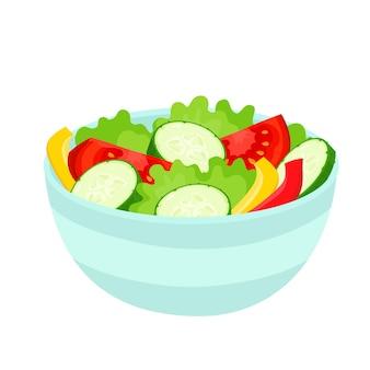 Ilustracja wektorowa jasny kolorowy salaterka. kreskówka organiczne warzywa i sałatki na białym tle używane dla magazynu, książki, plakatu, karty, okładki menu, stron internetowych.