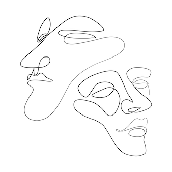 Ilustracja wektorowa jedna linia twarzy minimalistyczny ciągły szkic liniowy twarz mężczyzny