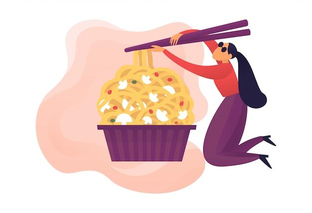 Ilustracja wektorowa jedzenie makaron
