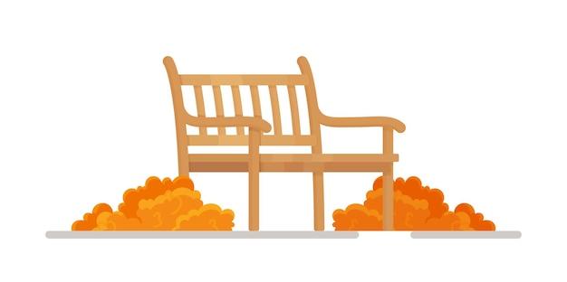 Ilustracja wektorowa jesiennego spaceru. drewniana ławka z dwoma stosami suchych liści - miejsce wypoczynku i relaksu w parku, na zewnątrz. płaski element projektu zewnętrznego w stylu cartoon.