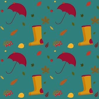 Ilustracja wektorowa jesiennego wzoru z kaloszami, parasolem i jesiennymi liśćmi