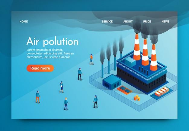 Ilustracja wektorowa jest napisana zanieczyszczenie powietrza 3d.