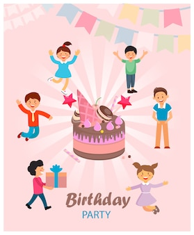 Ilustracja wektorowa jest napisane urodziny.