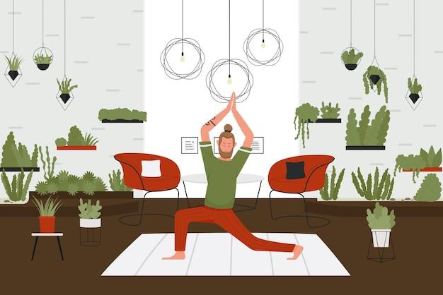 Ilustracja wektorowa jogi w domu. postać z kreskówki aktywnego człowieka z brodą robi ćwiczenia jogi pranajamy