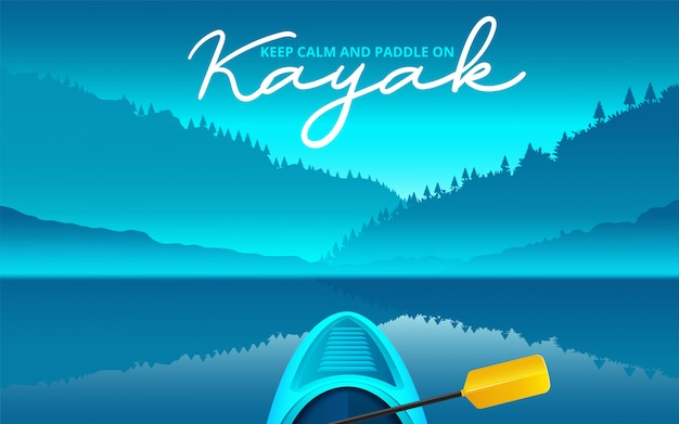 Ilustracja wektorowa kajak, kajakarstwo sport wodny