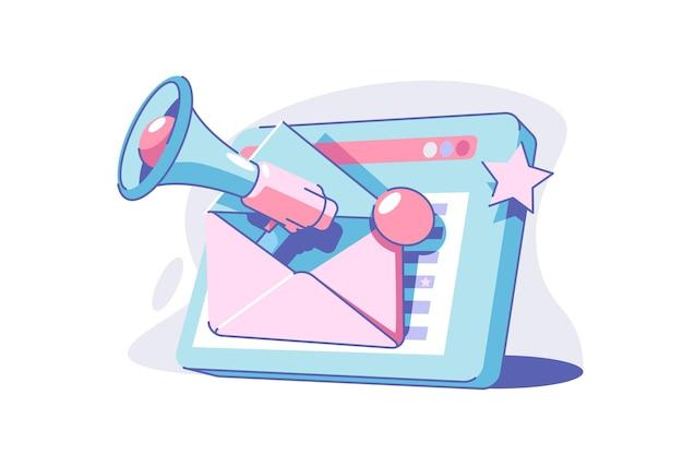 Ilustracja wektorowa kampanii e-mail marketingu. nowoczesne urządzenie typu tablet z kopertą płaski. kampania medialna. biznes i informacja. koncepcja korespondencji