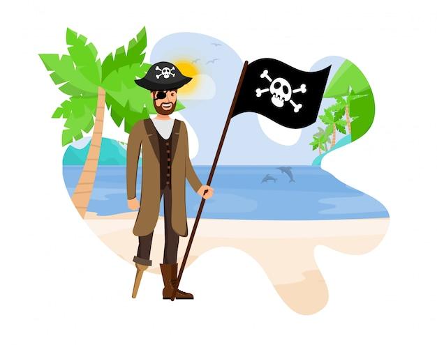 Ilustracja wektorowa kapitan charyzmatyczny pirat