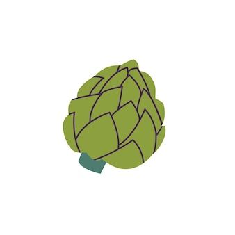 Ilustracja wektorowa karczocha - zielony vegetabl na białym tle.