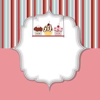 Ilustracja wektorowa karty zaproszenie ciastko