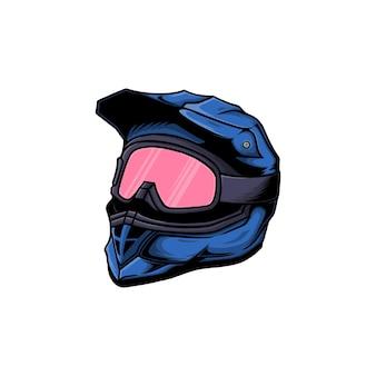 Ilustracja wektorowa kask motocyklowy motocross