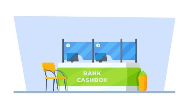 Ilustracja wektorowa kasy bankowej biurko z poradami dla klientów w zakresie udzielania pożyczek lub finansów