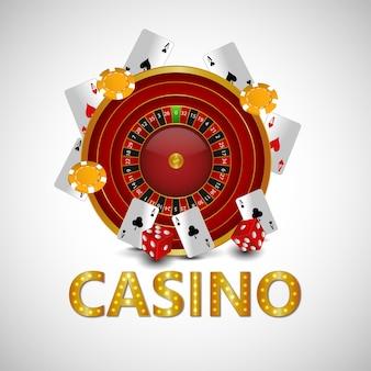 Ilustracja wektorowa kasyna z ruletką, żetony i karty do gry