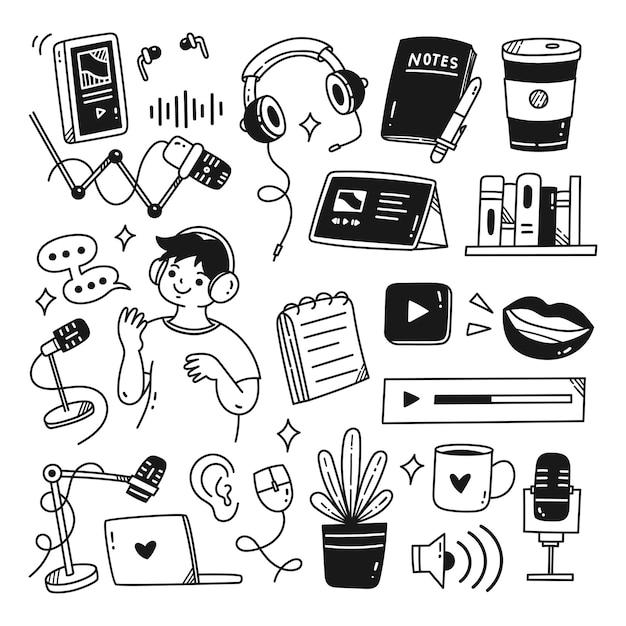 Ilustracja wektorowa kawaii doodle powiązanego obiektu z podcastem