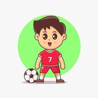 Ilustracja wektorowa kawaii ładny piłkarz. dziecko piłkarz ubrany w mundur i uśmiechnięty. wektorowa ilustracja słodkie dziecko trenujące piłkę nożną