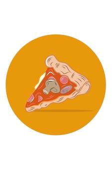 Ilustracja wektorowa kawałek pizzy