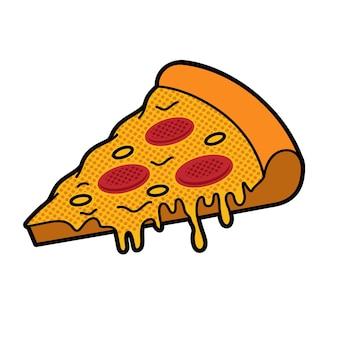 Ilustracja wektorowa kawałka pizzy w stylu kreskówki