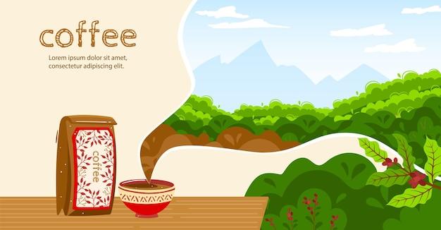 Ilustracja wektorowa kawy. kreskówka płaski kubek kawy aromatyczny napój, opakowanie worek papierowy, ziarna kawy zbierają naturalne składniki roślin i plantację przyrody