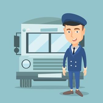 Ilustracja wektorowa kierowca autobusu szkolnego.