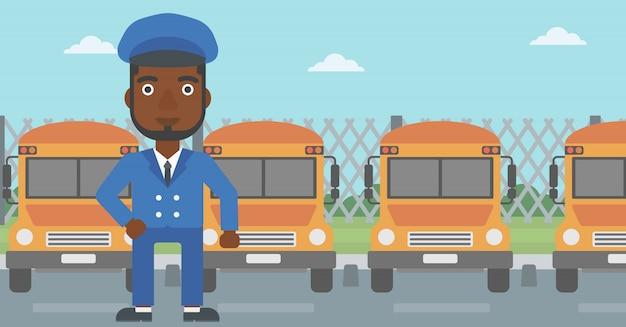 Ilustracja wektorowa kierowcy autobusu szkolnego.