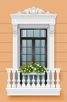 Ilustracja wektorowa. klasyczny balkon na elewacji z drzwiami i donicą z kwiatami