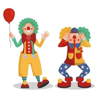 Ilustracja wektorowa klaunów cyrkowych śmieszne kreskówki.